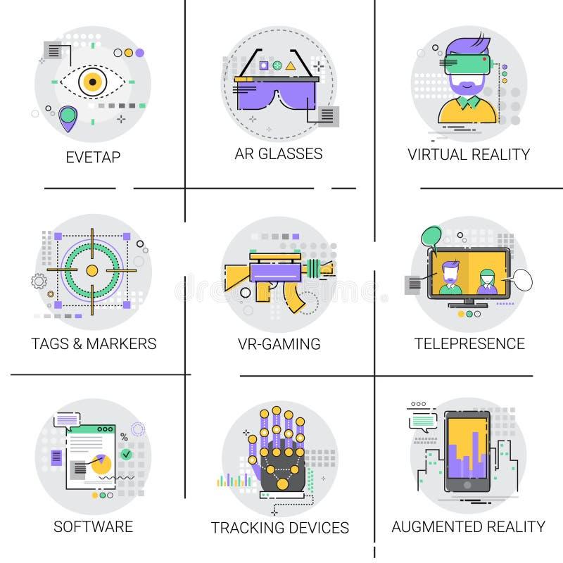 Samling för teknologi för uppsättning för symbol för tillträde för fingerspårningapparat modern visuell royaltyfri illustrationer