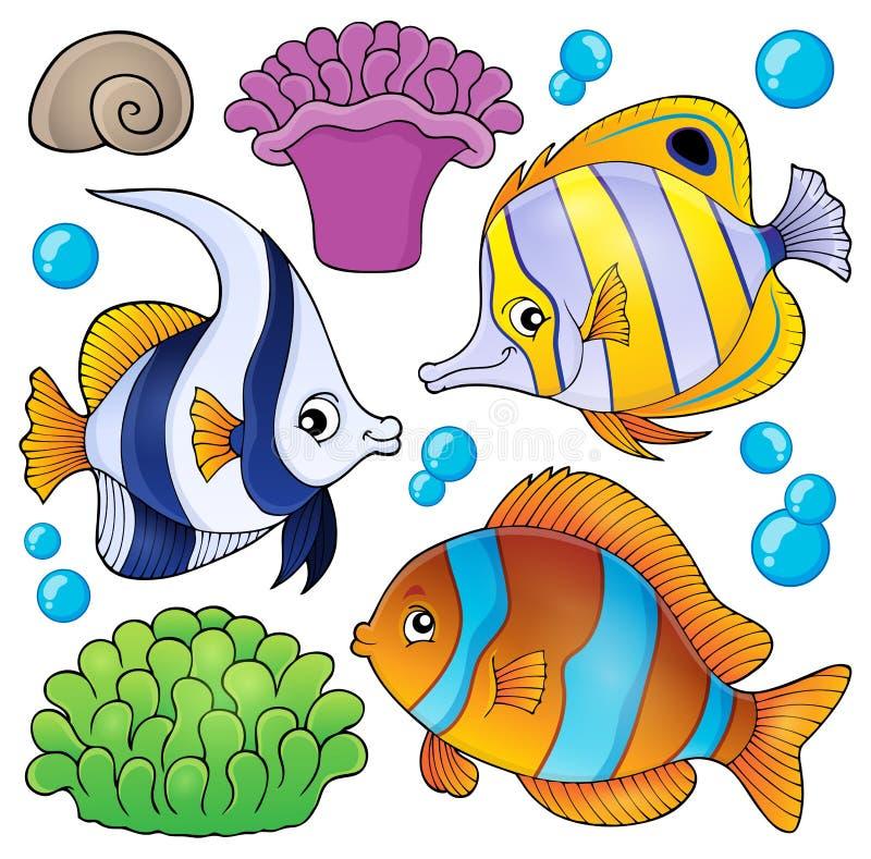 Samling 3 för tema för fisk för korallrev stock illustrationer