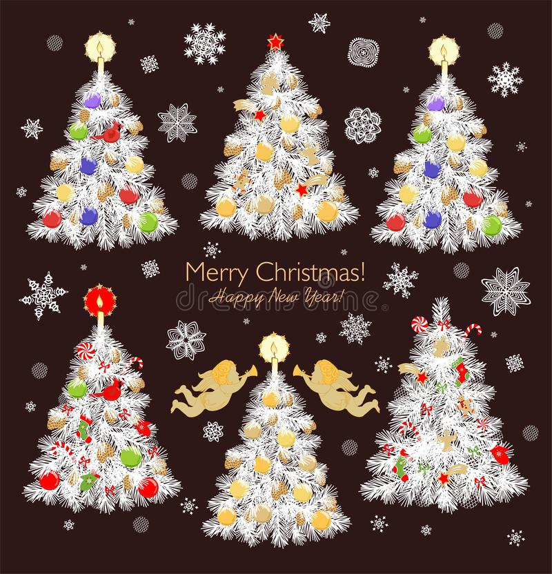 Samling för träd för jul för tappningpappersklipp vit med struntsaker, sötsaker, kakor, godisen, änglar, stjärnan och pepparkakan royaltyfri illustrationer