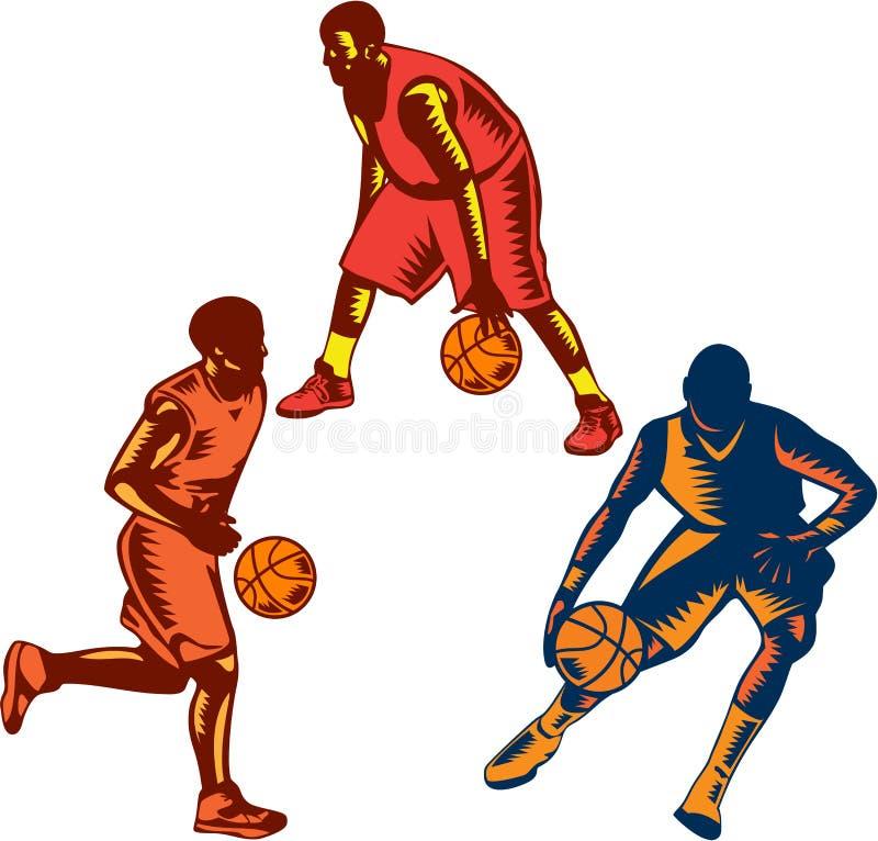 Samling för träsnitt för dribbling för basketspelare stock illustrationer
