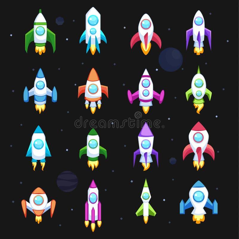 Samling för transport för skepp för utrymme för raketvektorsymboler fastställd stock illustrationer