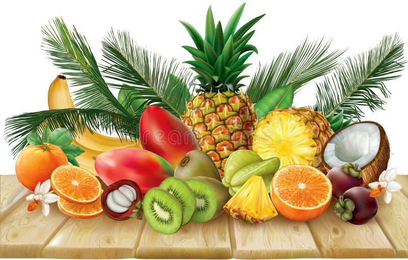 Samling för tropiska frukter på en träyttersida royaltyfri illustrationer