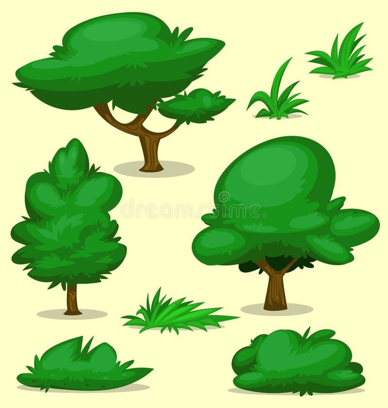 Samling för uppsättning för mall för gräs för buske för träd för vektortecknad filmgräsplan royaltyfri illustrationer