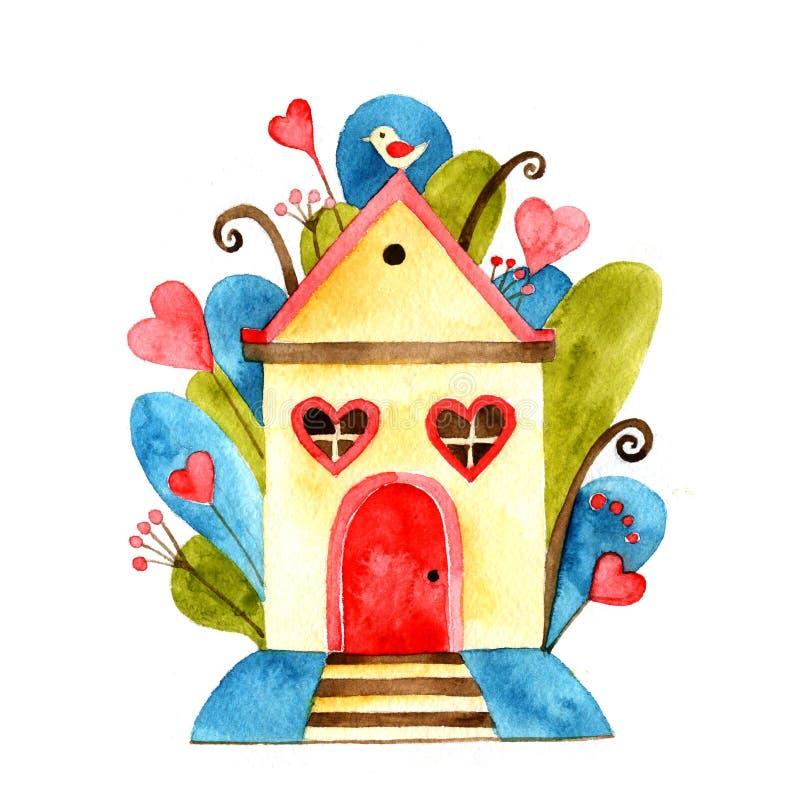 Samling för vattenfärgsötsakhem, älskvärt lantligt hus med träd i hand dragen stil, vattenfärgbeståndsdelar för kort stock illustrationer