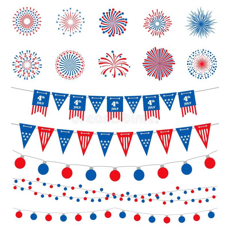 Samling för vektor för för för amerikanska flagganfärgbaner, girlander och fyrverkerier Lycklig självständighetsdagen 4th Juli, a vektor illustrationer