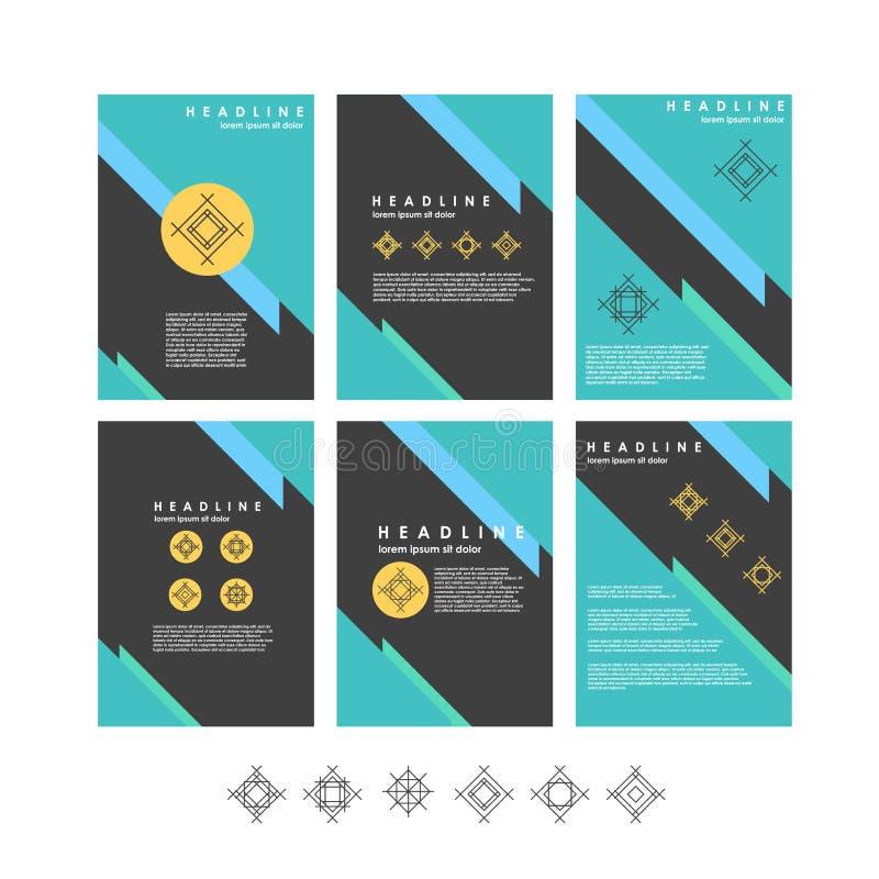 Samling för vektordesignmallar för baner, presentation, broschyr royaltyfri illustrationer