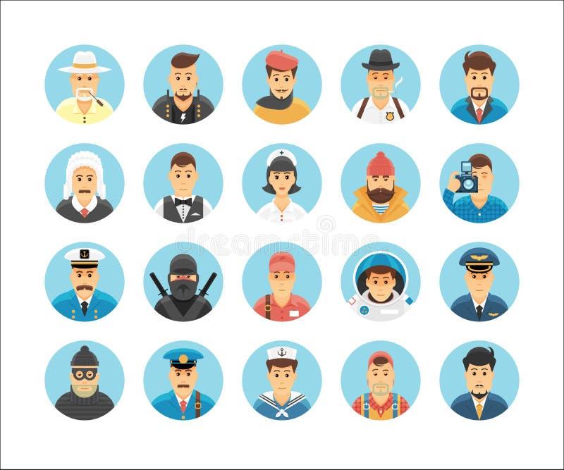 Samling för vektortecken- och personsymboler royaltyfri illustrationer