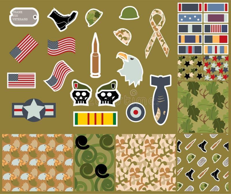 Samling för veterandag av militära symboler och sömlösa kamouflagemodeller royaltyfri illustrationer