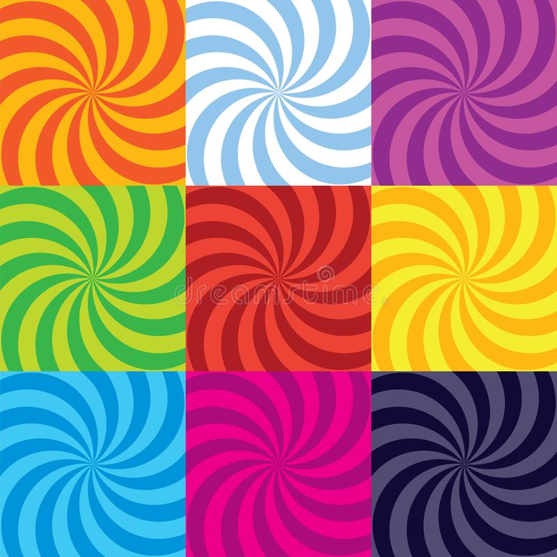Samling för virvel för vektorfärg-bristning spiral royaltyfri illustrationer