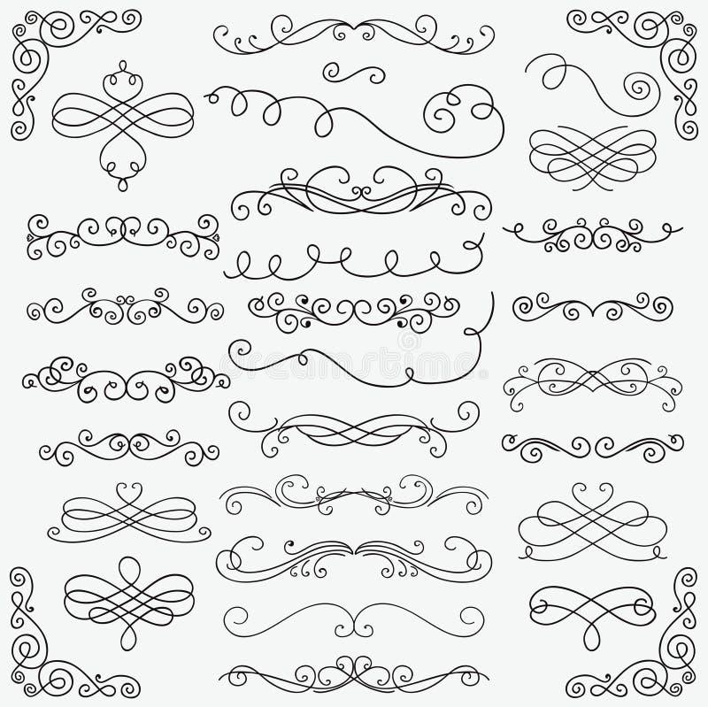 Samling för virvlar för vektorsvartklotter hand dragen royaltyfri illustrationer