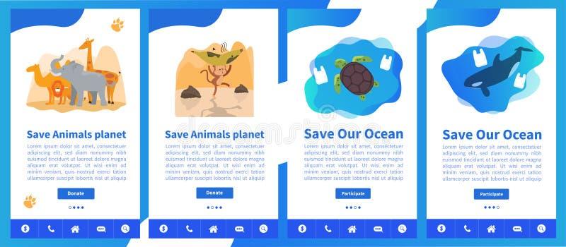 Samling för webbsidadesignmallar av räddningplaneten eller att gå gröna teman vektor illustrationer