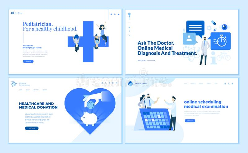 Samling för webbsidadesignmallar av sjukvård royaltyfri illustrationer