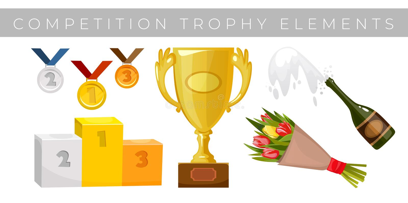 Samling f?r trof?best?ndsdelvektor Medaljer, blommor, vinnarekopp, utmärkelse som segrar podiumsockeln, och champagne som isolera royaltyfri illustrationer