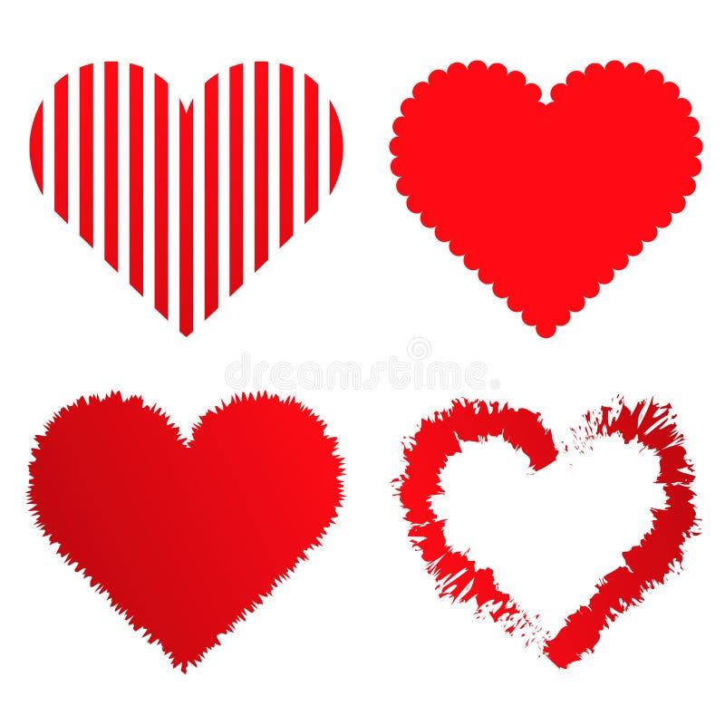 samling f?r 4 valentinf?r?lskelsehj?rtor royaltyfri illustrationer