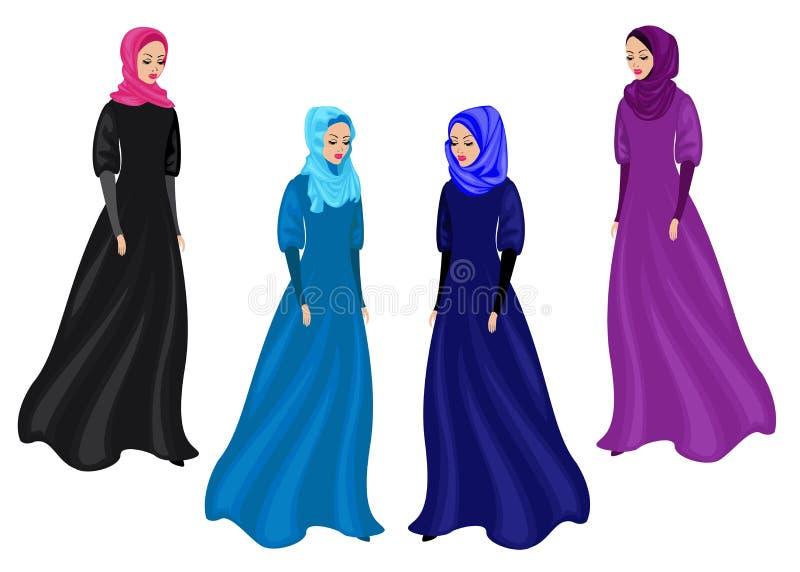 Samling Kontur av en s?t dam Flickan b?r traditionella muslimska kvinnors kl?der, hijab h?rligt kvinnabarn stock illustrationer