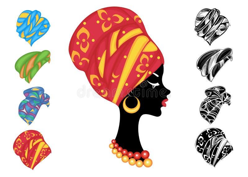 Samling Kontur av ett huvud av en s?t dam En ljus sjal, en turban som binds till huvudet av en afrikansk amerikanflicka _ vektor illustrationer