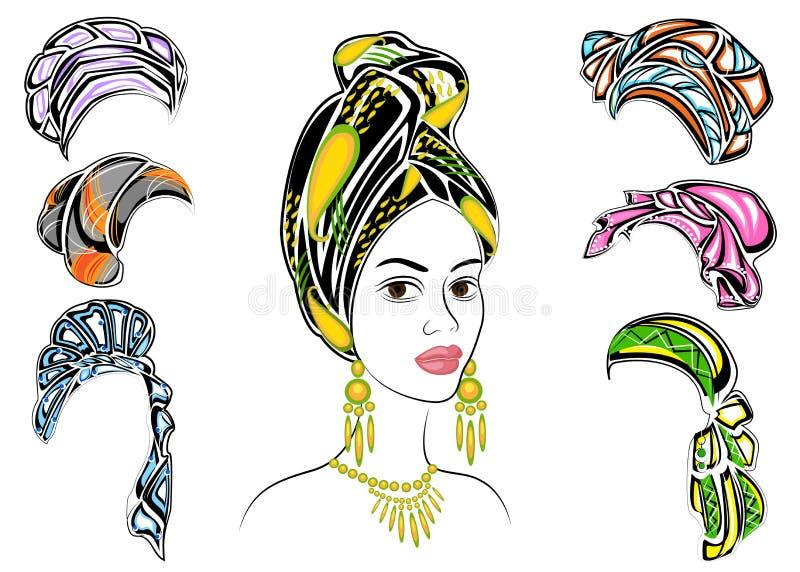 Samling Kontur av ett huvud av en s?t dam En ljus sjal, en turban som binds till huvudet av en afrikansk amerikanflicka _ royaltyfri illustrationer