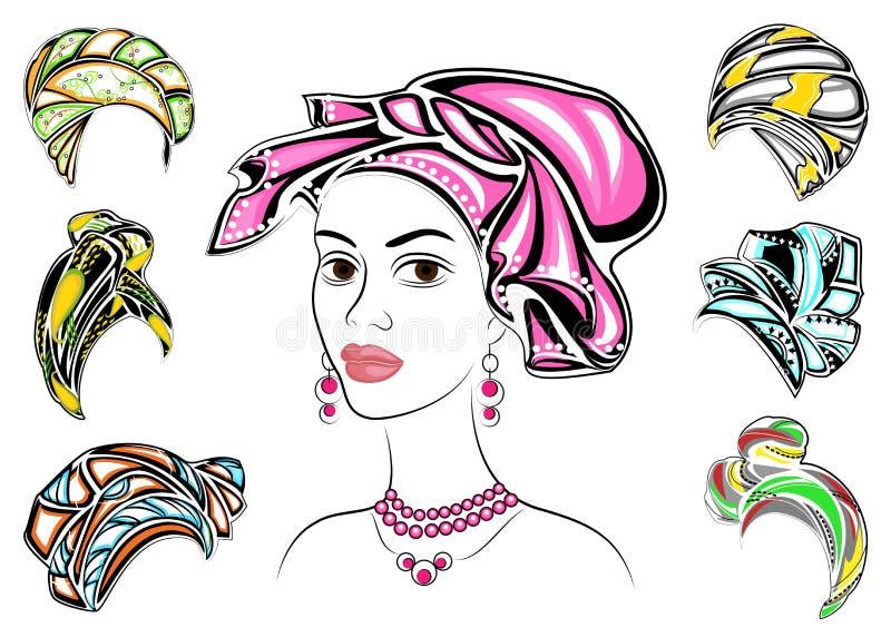 Samling Kontur av ett huvud av en s?t dam En ljus sjal, en turban som binds till huvudet av en afrikansk amerikanflicka _ stock illustrationer