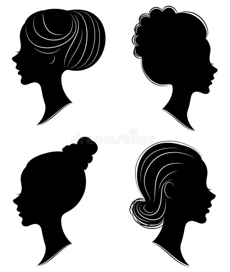 Samling Kontur av huvudet av en s?t dam Flickan visar en kvinnlig frisyr p? medel- och l?ngt h?r Passande f?r logo, royaltyfri illustrationer