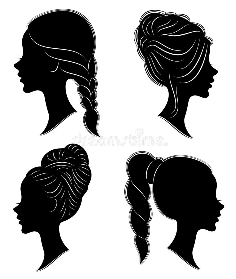 Samling Kontur av huvudet av en s?t dam Flickan visar en kvinnlig frisyr p? medel- och l?ngt h?r Passande f?r logo, vektor illustrationer