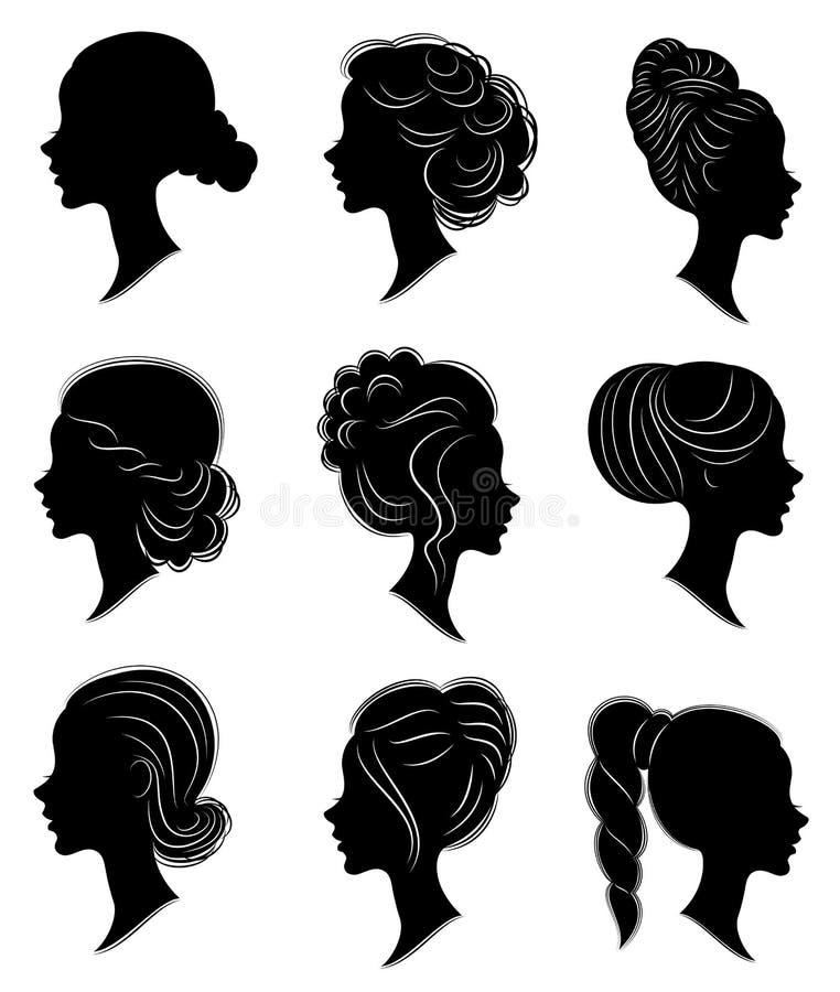 Samling Kontur av huvudet av en s?t dam Flickan visar en kvinnlig frisyr p? medel- och l?ngt h?r Passande f?r logo, stock illustrationer