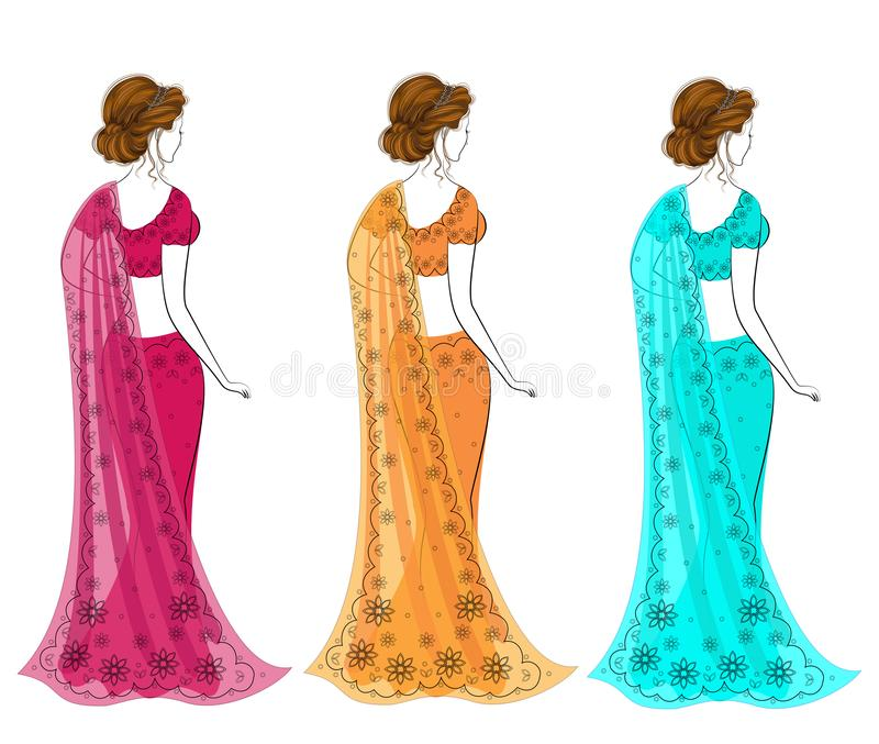 Samling Kontur av ?lskv?rda damer Flickorna ?r ikl?dda sari, traditionell indisk nationell kl?der Kvinnor ?r unga och royaltyfri illustrationer