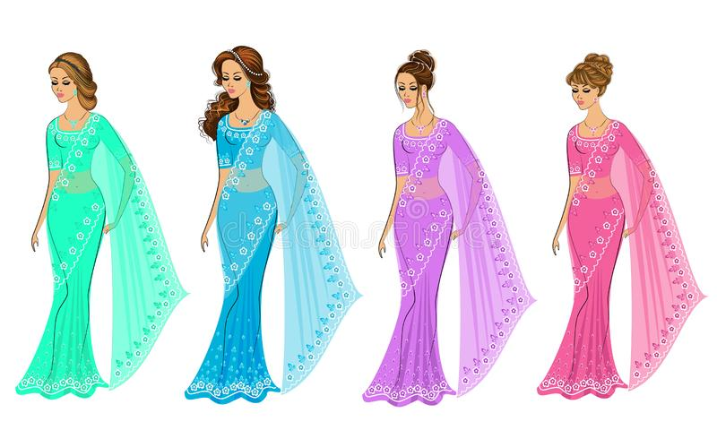 Samling Kontur av ?lskv?rda damer Flickorna ?r ikl?dda sari, traditionell indisk nationell kl?der Kvinnor ?r unga och stock illustrationer