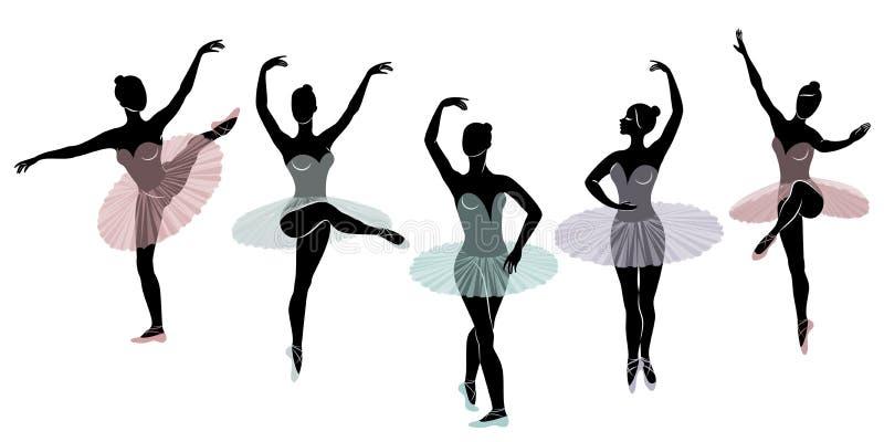 Samling Konturn av en gullig dam, dansar hon balett Flickan har ett h?rligt diagram Kvinnaballerina vektor vektor illustrationer
