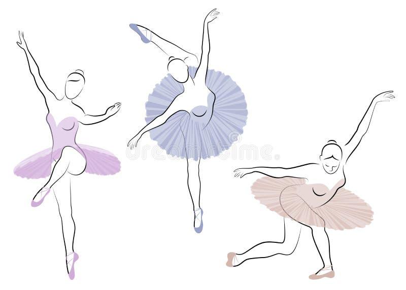 Samling Konturn av en gullig dam, dansar hon balett Flickan har ett h?rligt diagram Kvinnaballerina vektor royaltyfri illustrationer