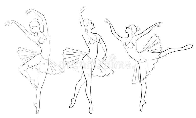 Samling Konturn av en gullig dam, dansar hon balett Flickan har ett h?rligt slankt diagram Kvinnaballerina vektor vektor illustrationer