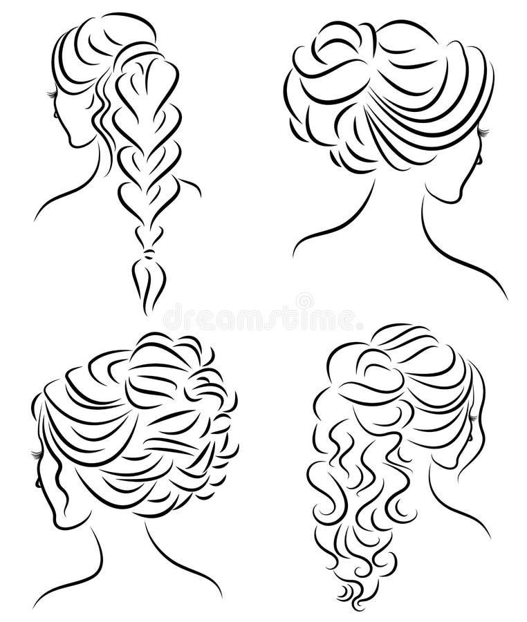 Samling Konturprofil av ett gulligt huvud f?r dam s Flickan visar hennes frisyr f?r medel- och l?ngt h?r Passande f?r logo, stock illustrationer