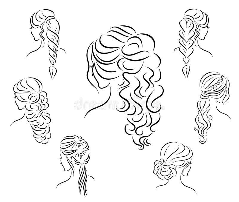 Samling Konturprofil av ett gulligt huvud f?r dam s Flickan visar hennes frisyr f?r medel- och l?ngt h?r Passande f?r logo, royaltyfri illustrationer
