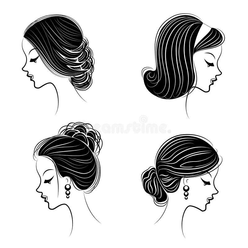 Samling Konturprofil av ett gulligt huvud f?r dam s Flickan visar hennes frisyr f?r medel- och l?ngt h?r Passande f?r logo, vektor illustrationer