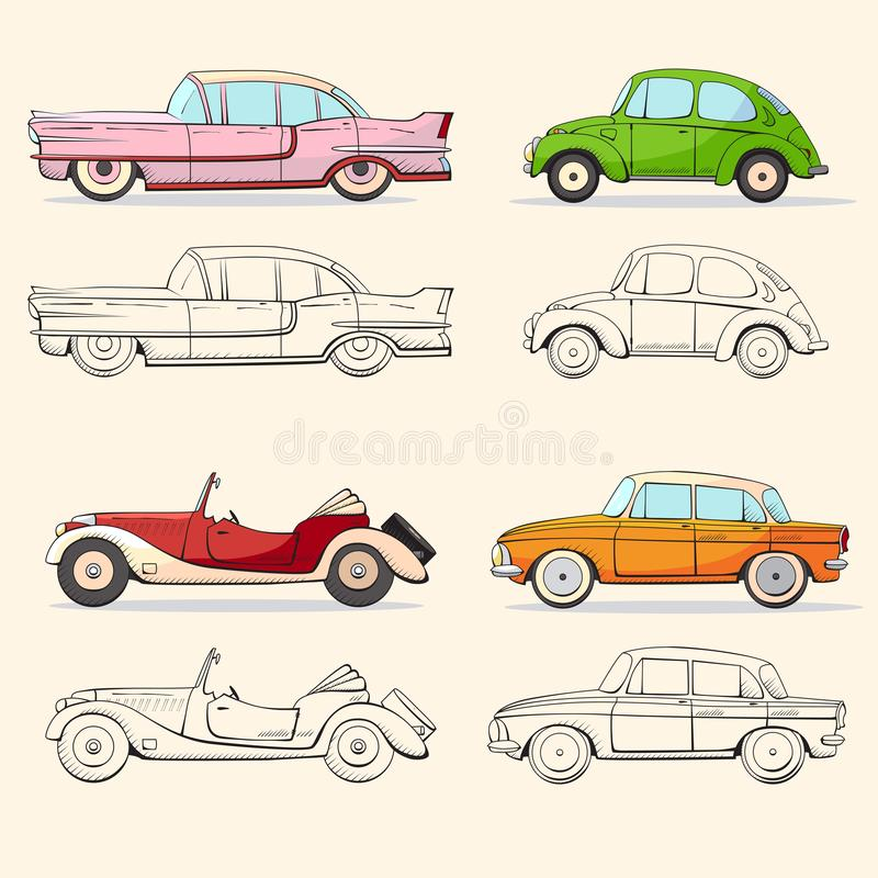 Samling med den retro bilen i tecknad filmstil Retro automatisk för färg- och svartöversikt Klassisk bil dragen uppsättning stock illustrationer