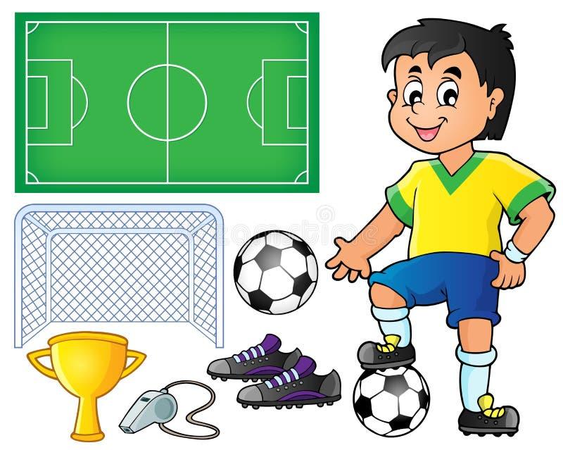 Samling med fotbolltema 1 vektor illustrationer