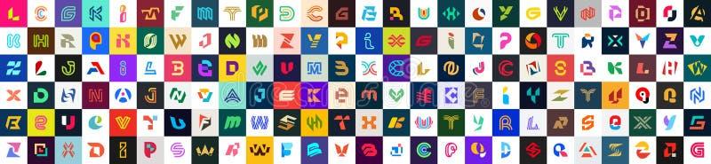 Samling med fullständiga logotyper med bokstäver royaltyfri foto