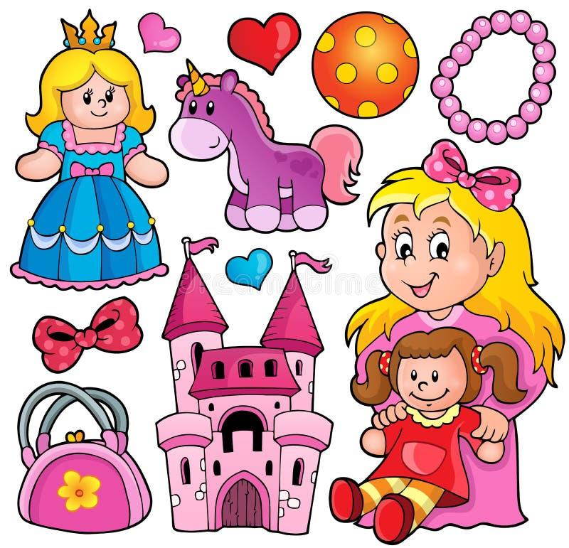Samling med leksaktema 1 stock illustrationer