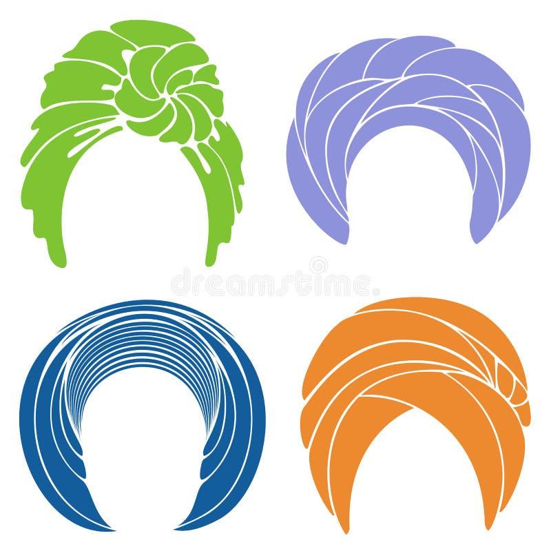 Samling Nationell traditionell nationell huvudbonad, turban stucken scarf Logo symbol, intrig Grafisk bild st?ll in vektorn royaltyfri illustrationer