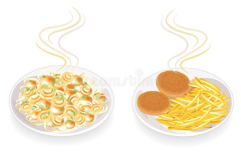 Samling På en platta av stekte kotletter och champinjoner Garneringpotatisar, lökar och dillgräsplaner Smaklig och n?ringsrik mat vektor illustrationer