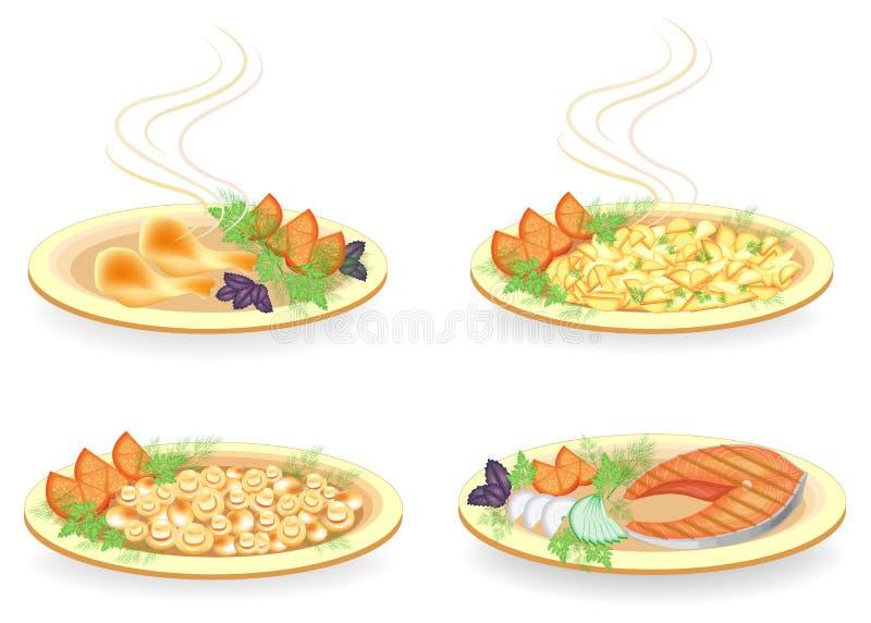 Samling På en platta en skenben av fegt kött, en biff av laxen Garneringen stekte potatisar, champinjoner, lökar, citronen, tomat royaltyfri illustrationer