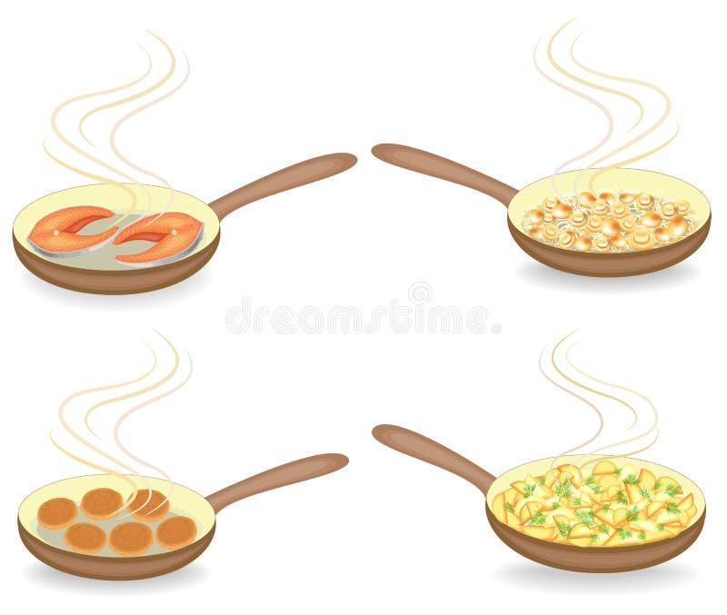 Samling På en varm stekpanna stekte potatisar, fisken, lökar, champinjoner, kotletter Förberedelse av läcker och näringsrik mat f royaltyfri illustrationer