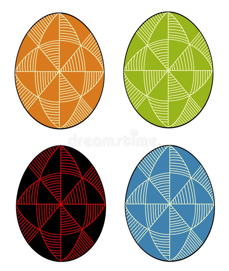 Samling Påskägg med den målade prydnaden, 48 kilar Symbolet av p?sken En forntida tradition av folk ocks? vektor f?r coreldrawill stock illustrationer