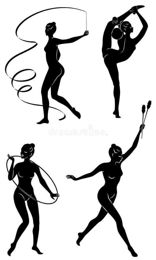 samling Rhythmiska gymnastika Silhouette med kusin, boll, band, hake Vackra gymnast Kvinnan är smal och vektor illustrationer
