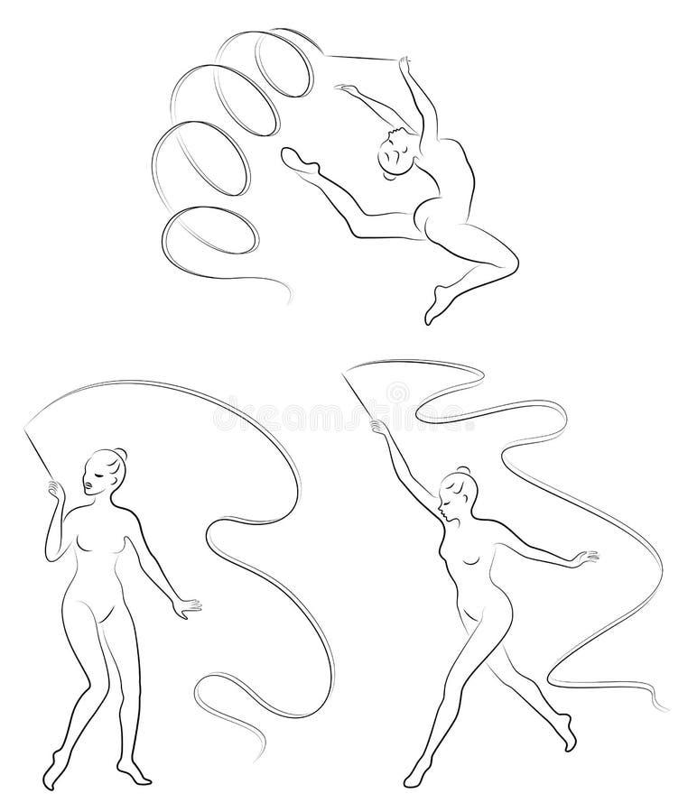 Samling rytmisk gymnastik Kontur av en flicka med ett band Den härliga gymnasten kvinnan är slank och barn stock illustrationer
