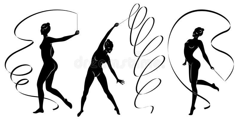 Samling rytmisk gymnastik Kontur av en flicka med ett band Den härliga gymnasten kvinnan är slank och barn royaltyfri illustrationer