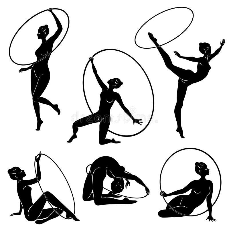 Samling rytmisk gymnastik Kontur av en flicka med ett beslag Den härliga gymnasten kvinnan är slank och barn royaltyfri illustrationer
