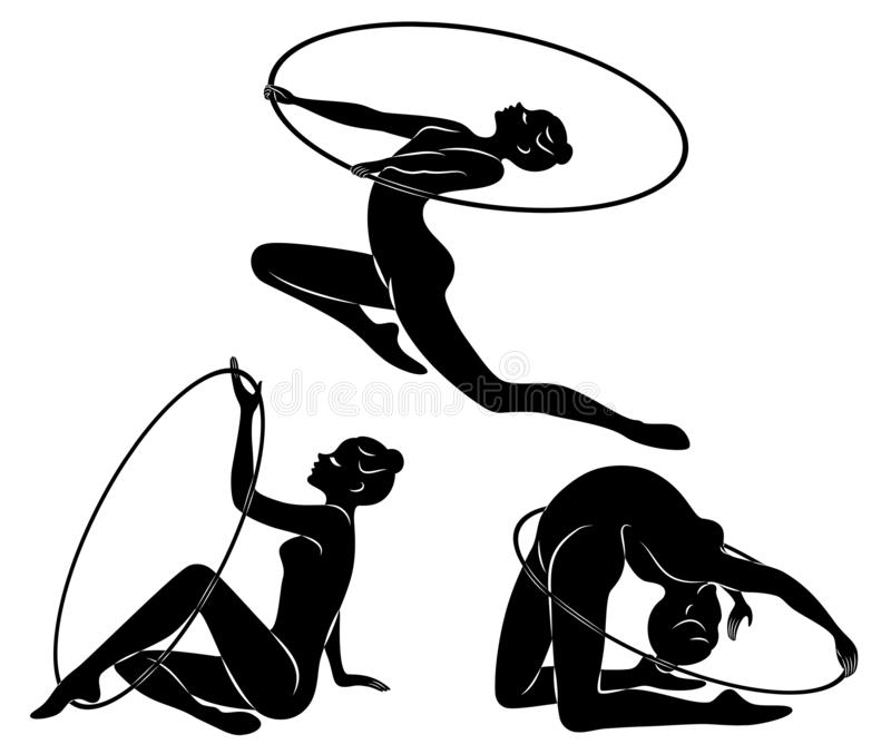 Samling rytmisk gymnastik Kontur av en flicka med ett beslag Den härliga gymnasten kvinnan är slank och barn vektor stock illustrationer