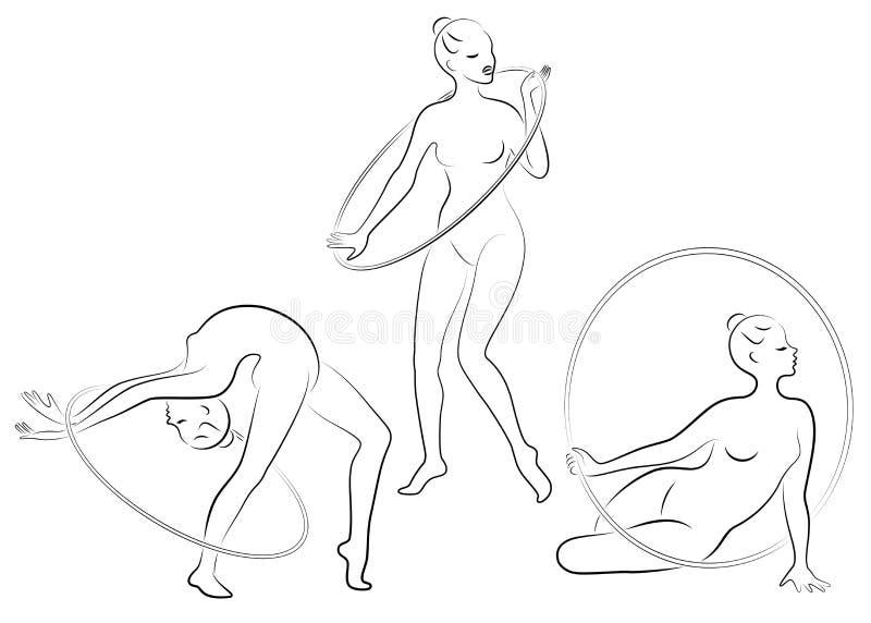 Samling rytmisk gymnastik Kontur av en flicka med ett beslag Den härliga gymnasten kvinnan är slank och barn vektor royaltyfri illustrationer