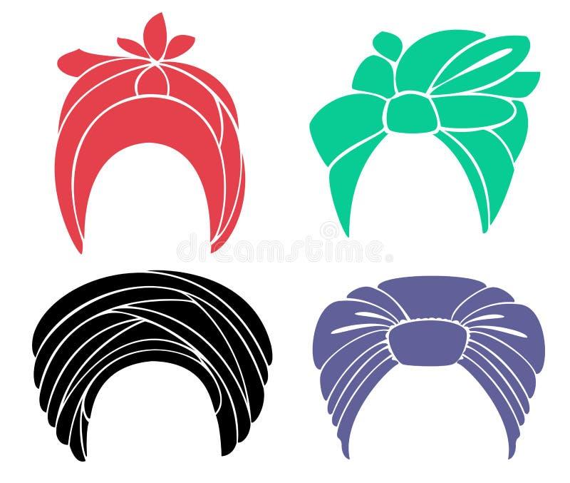 Samling Traditionell nationell huvudbonad, turban stucken scarf Logo symbol, diagram Grafisk bild g?ra sammandrag f?r knappf?rger royaltyfri illustrationer