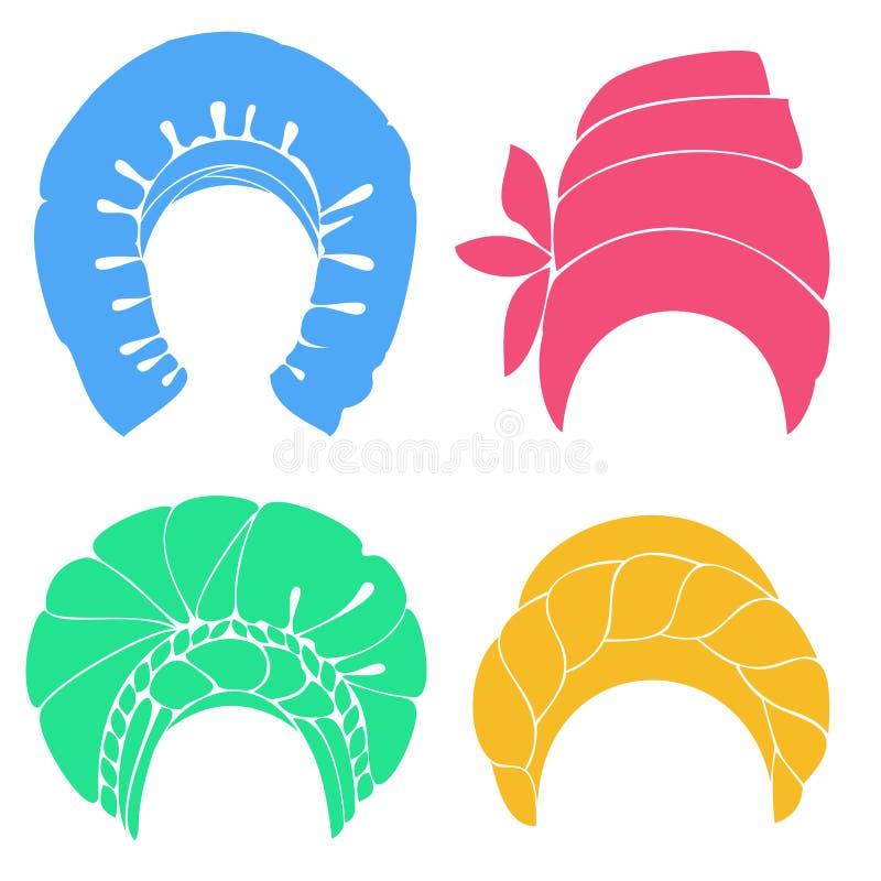 Samling Traditionell nationell huvudbonad, turban stucken scarf Logo symbol, intrig Grafisk bild st?ll in vektorn royaltyfri illustrationer